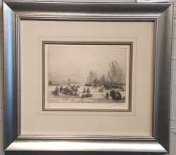 Small limited edition of French seaport etching by Gaston De Latenay.